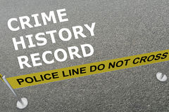Concept d'enregistrement historique de crime Photo stock