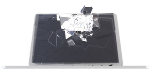 Concept d'entaille d'ordinateur - PC endommagé Photographie stock