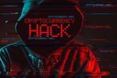 Concept d'entaille de Cryptocurrency avec la personne masculine à capuchon sans visage image stock