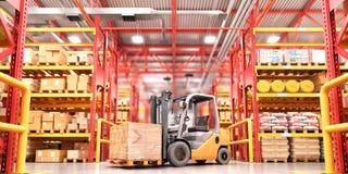 Concept d'entrepôt Le chariot élévateur entre les rangées dans le grand entrepôt illustration 3D illustration de vecteur