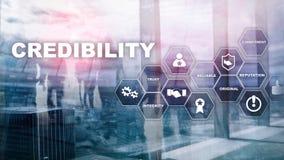 Concept d'entreprise d'amélioration de crédibilité Exposition multiple, fond de médias mélangés illustration stock