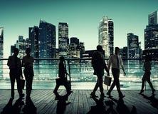 Concept d'entreprise de collègues de paysage urbain de ville d'affaires de banlieusard image stock