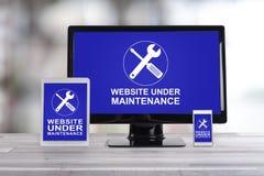 Concept d'entretien de site Web sur différents dispositifs photos stock