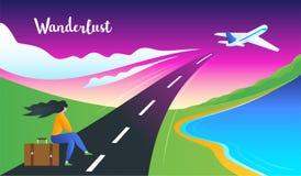 Concept d'envie de voyager d'aventure illustration de vecteur