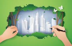 Concept d'environnement d'eco avec la ville verte Photos libres de droits