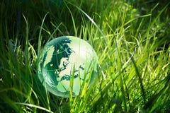 Globe en verre dans l'herbe photo stock
