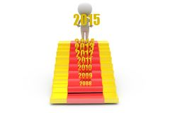 concept d'escaliers de nouvelle année de l'homme 3d Images stock