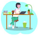 Concept d'espace de travail avec des dispositifs Étudiante sur le lieu de travail avec un comprimé graphique Femme, femme d'affai illustration de vecteur