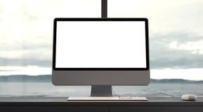 Concept d'espace de travail avec l'ordinateur générique de conception Images libres de droits