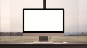 Concept d'espace de travail avec l'ordinateur générique de conception Photo stock