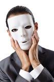 Concept d'espionnage industriel - homme d'affaires masqué Photographie stock