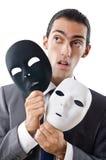 Concept d'espionnage industriel - homme d'affaires masqué Image stock
