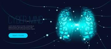 Concept d'esprit de Cyber, intelligence artificielle illustration de vecteur