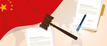 Concept d'essai de jugement de constitution de loi de la Chine de législation juridique de justice utilisant le papier et le styl illustration libre de droits