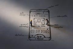 Concept d'expérience d'utilisateur présent par le chiffre de deux miniatures de Busi Image stock