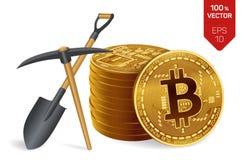 Concept d'exploitation de Bitcoin le peu 3D physique isométrique invente avec la pioche et la pelle Cryptocurrency Pile de Bitcoi Images libres de droits