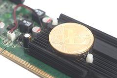 Concept d'exploitation de Cryptocurrency avec le litcoin sur un graphique videocar image libre de droits