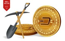 Concept d'exploitation de tiret pièce de monnaie physique isométrique du peu 3D avec la pioche et la pelle Devise de Digital Cryp illustration stock