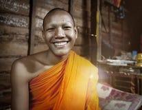 Concept d'expression de Cambodia Smiling Facial de moine Photos stock