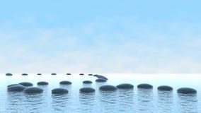 Concept d'harmonie. Chemin de caillou sur l'eau Photo libre de droits