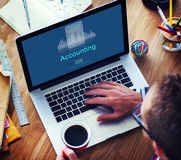 Concept d'icône d'économie de crédit d'affaires de comptabilité Images stock