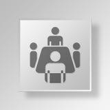 concept d'icône de bouton de la réunion 3D Image libre de droits