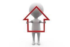 concept d'icône de maison de l'homme 3d Images stock