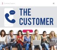 Concept d'icône de téléphone de communication de client Photos stock