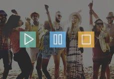 Concept d'icônes de symbole d'arrêt de pause de jeu de contrôle de boutons audio illustration libre de droits