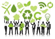 Concept d'icônes de vert d'affaires de personnes Image stock