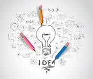 Concept d'idée avec des croquis d'ampoule et de griffonnage illustration libre de droits