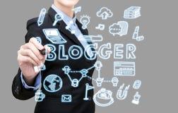 Concept d'idée de blogger d'écriture de femme d'affaires Images libres de droits