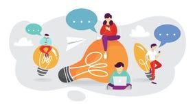 Concept d'idée Penser à l'innovation et trouver la solution illustration de vecteur
