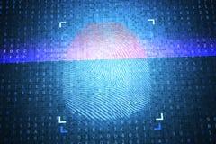Concept d'identification et de sécurité Empreinte digitale numérique de balayage 3D a rendu l'illustration illustration libre de droits