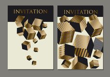 Concept 3d illusion geometric cubes composition. For surface design and web. Vector abstract illustration with geometric shapes in gold and black colors Royalty Free Stock Photo