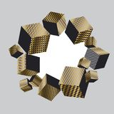 Concept 3d illusion geometric cubes composition. For surface design and web. Vector abstract illustration with geometric shapes in gold and black colors Stock Images