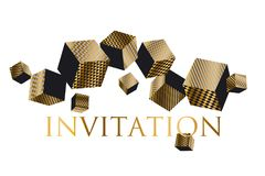 Concept 3d illusion geometric cubes composition. For surface design and web. Vector abstract illustration with geometric shapes in gold and black colors Stock Photos