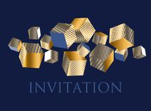 Concept 3d illusion geometric cubes composition. For surface design and web. Vector abstract illustration with geometric shapes in gold, white and deep blue Stock Images