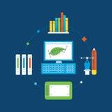 Concept d'illustration - conception graphique, outils de formation et d'exécution illustration de vecteur