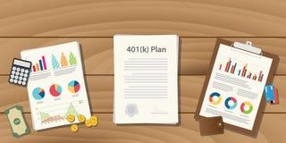concept d'illustration de plan de 401 k avec des écritures avec le graphique et le diagramme illustration libre de droits