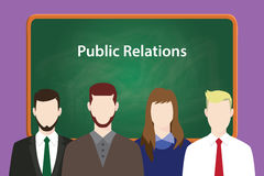 Concept d'illustration de relations publiques avec l'homme et la femme d'affaires alignant ensemble devant le tableau noir ou le  Image libre de droits