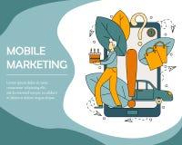 Concept d'illustration de vecteur du marketing mobile illustration stock