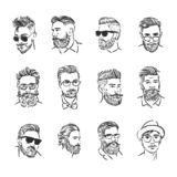 Concept d'illustration de vecteur d'icône de portrait de hippie Noir sur le fond blanc illustration de vecteur