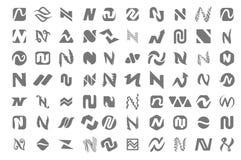 Concept d'illustration de vecteur de logo de lettre de n Graphisme sur le fond blanc illustration libre de droits