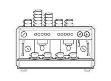 Concept d'illustration de vecteur de machine de café Noir sur le fond blanc illustration libre de droits