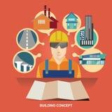 Concept d'illustration de vecteur pour des constructions de bâtiments Investissement de propriété Concepteur d'architecte Consult Photographie stock
