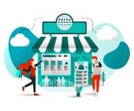 Concept d'illustration de vecteur pour des sites Web, applis, UI, copie, affiche Off-line le magasin sont en ligne Le magasin joi illustration stock