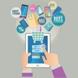 Concept d'illustration de vecteur pour sur la ligne magasin Vente de Digital Achat sur la ligne Paiement mobile Image libre de droits