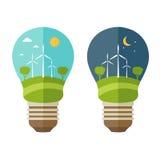 Concept d'illustrations de lampe avec des icônes de l'écologie Images stock