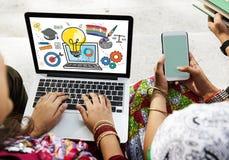 Concept d'imagination de conception de créativité d'échange d'idées d'idées originales Photo stock
